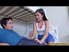 Stepbro eats her college stepsis pink twat as she spread her legs for him!