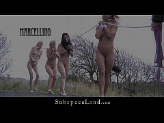 Blonde slavegirls walked in leash to dungeon for exploit