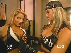 Trish Stratus & Ashley Massaro adjust each others ring gear