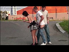 Very risky PUBLIC gang bang threesome with a cute petite girl