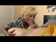 naughty granny deepthroating and gagging on the white dick