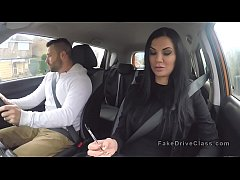Busty Milf examiner sucks big cock in car