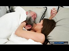 Old bearded man in bed fucking with a petite teenie