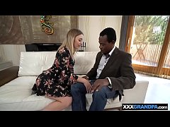 Teen blonde gets with an old experienced black man