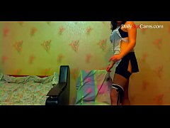 Russian brunette milf fucked with young student and get cum in mouth on webcam