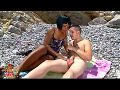 White cock in black pussy at the beach