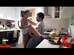 She wants to eat her banana in the kitchen. He runs on top of her