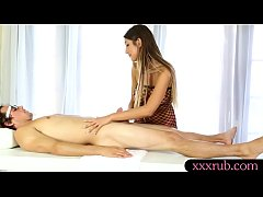 Busty masseuse August Ames gives client a nice blowjob