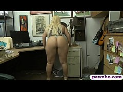 Bubble butt blonde woman sucks off and gets her sweet pussy railed by nasty apwn keeper at the pawnshop