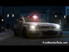 Hot 3D babe lays on a cop car and sucks a monst...