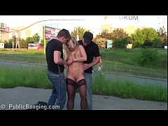 Cute blonde hottie girl public street sex three...