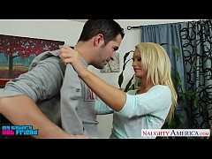 HD Chesty blond babe Emily Austin suck a large cock