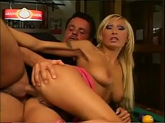 Sexy blonde banged in the ass on a billiard table