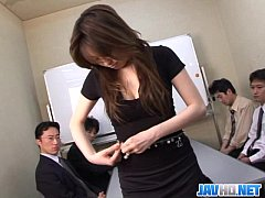 Office chick in stocking finger bang