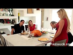Step Sister Sucks And Fucks Brother During Thanksgiving  Dinner   |FamSuck.com