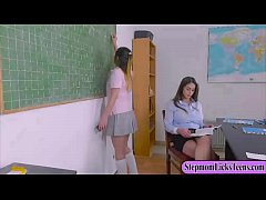 Busty teacher wears strapon and fuck gal