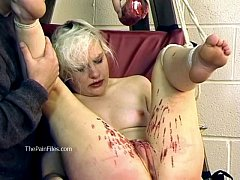 Tied blonde slaveslut Chaos tortured to tears and hot wax punished submissive in