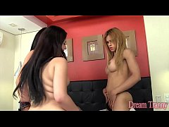 2 Tgirls sodomize a real girl