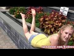 Cute Amateur Teen Gets Picked Up Off Streets for Footjob at FuckedFeet!