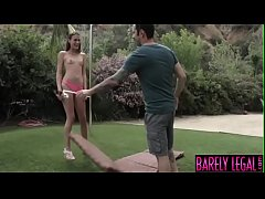 Lanky teen Kacy Lane bouncing on thick dick outdoor