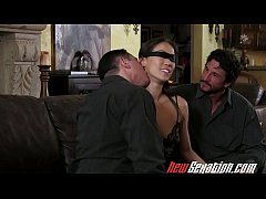 NewSexation blindfolded asian babe gets two big white cocks