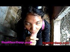 HD Heather Deep explores trail in jungle and get creamthroat in abandoned toilet