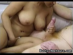 Busty amateur Precious on her first blowjob