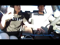Sucking dick in the car leads to hard fucking creampie