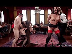 Big boobs nympho Milf Holly Heart trained her young maid Kasey Warner fuck in bondage from behind then both banged on the couch at bdsm brunch party