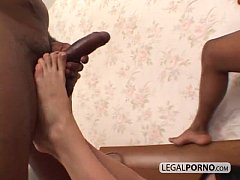 Two big black dicks fuck two sexy brunettes HC-...