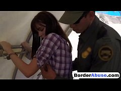 Slim Latina teen with small boobs rides border patrol in the van
