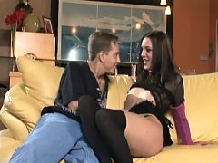 Petite brunette fucking in stockings and heels