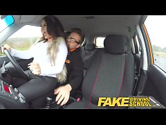 HD Fake Driving School Instructor gets titty wank from busty british babe