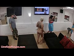 lesbian threesome moved to some bedroom fun