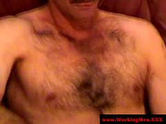 Real smoking mature bears blows friend