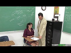 cute brunette schoolgirl Abby gets her wet teen pussy fucked by her prof