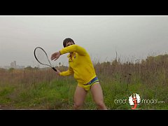 Male tennis player with big dick underwear bulge gets naked during workout