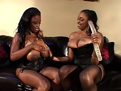 Sexy black girls with bibg boobs lick and fuck each other's with toys