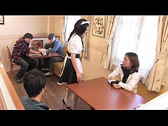 HD Japanese waitress food gangbang