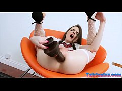 Teen shemale fucks her ass with big toy