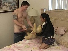 Tiny asian schoolgirl fucks a white guy