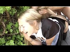 Blonde maid is doing painful anal sex with her boss