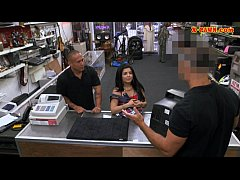 Latina chick pawns her pussy at the pawnshop for money