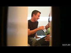 Black babe Courtney Foxxx spyed by guys hide in the closet