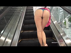 No panties shopping public flashing upskirt