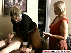 Mature woman give handjob
