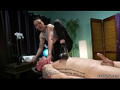 Short haired brunette masseuse Lilith Luxe ties up her client and bends over table then anal fucks him