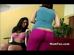 Busty brunette mom and thick inexperienced daughter get naked together
