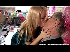 Sexy blond teen Jennys gives head to a senior