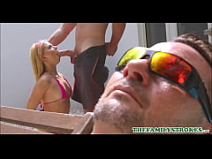 Very Petite Blonde Teen Riley Star Fucked By Her Cousin In The Pool Next To Her Uncle